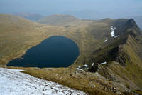 Looking down on Red Tarn and Striding Edge from Helvellyn, Lake District National Park