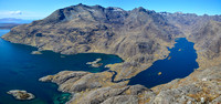 The Cuillin Ridge, Loch Scavaig and Loch Coruisk from the summit of Sgurr na Stri, Isle of Skye