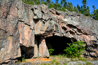 Namesake Cave on the point between Fish Harbour and Cave Harbour, Pukaskwa National Park
