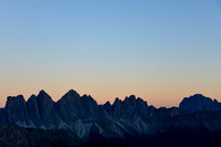 The Odle at twilight from Rifugio Plose, with Sassolungo on the right