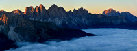 Sunrise on the Odle from Rifugio Plose, with Sassolungo on the right
