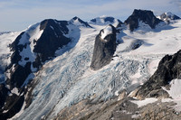 Anniversary Peak, the Hound's Tooth, Marmolata Mountain and the Bugaboo Glacier from the summit of Eastpost Spire