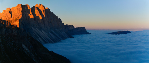 Sunrise on the Odle from the Col di Poma