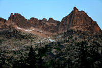 Warbonnet Peak's northeast ridge from Upper Baron Lake, Sawtooth Wilderness