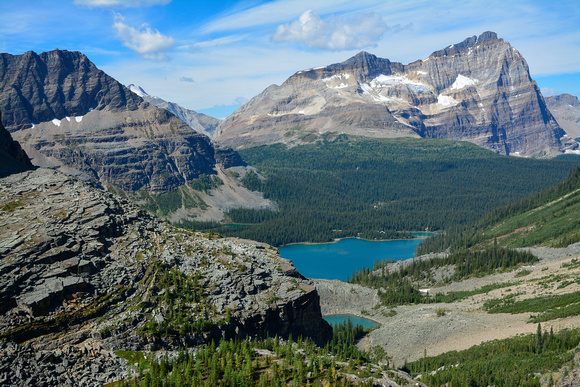 Odaray Mountain and Lake O'Hara from the Huber Ledges, Lake O'Hara Alpine Circuit