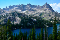 Warbonnet Peak's northeast ridge from the ridge between Baron Lake and Upper Baron lake, Sawtooth Wilderness